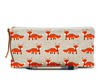 Fox pencil case, Kids pouch, School supplies, Woodland, Make Up bag, Cosmetic case, Animal pouch, Small zipper pouch, Pen bag, Teacher gift