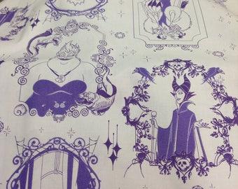 Disney Villains Fabric - Disney Villains Frames from Camelot Fabrics - 3 Color Options! (Purple, Gray, Steel Blue)
