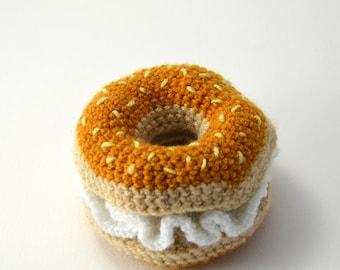 Bagel Crochet Pattern, Bagel Amigurumi Pattern, Crochet Bagel Amigurumi, Food Crochet Pattern, Amigurumi Food, Crochet Food Pattern