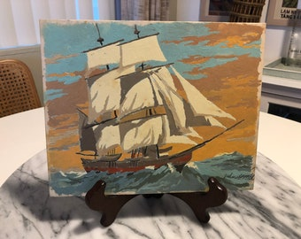 Vintage Paint by Number Ship art