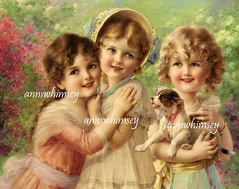 Nursery Art, Little Girl's Room Art, Guest Room Art, Bedroom Art,  Victorian Art Little Girls and Their Puppy  #589 FREE SHIPPING