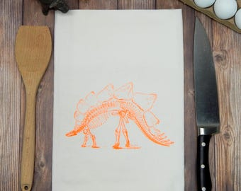 Stegosaurus Flour Sack Tea Towel - Hand Towel - Dinosaur Kitchen Towel