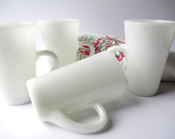 Vintage Milk Glass Mugs Set of Four - Retro Cottage Style