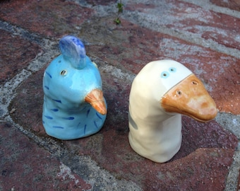 Duck And Chicken Blue And White Ceramic Salt And Pepper Shakers