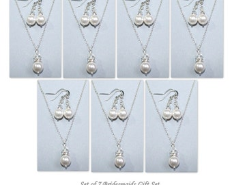 CUSTOM COLOR Set of 7 Bridesmaid Gift,  Swarovski White Pearl Necklace and Earring Set, Bridesmaid Jewelry Set, Bridal Jewelry Set