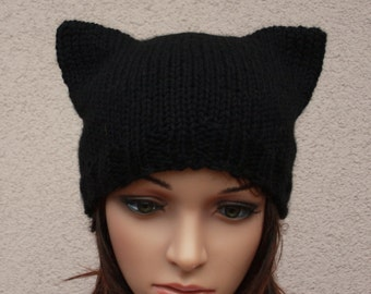 Hat Cat.Ladies beanie ''Black Cat''! Hand knitted, seamless.Knit black Hat Cat Ears Hat Cat  Available in many colours.
