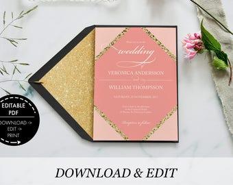 wedding invitation, invitation template printable invitation printable wedding invitation wedding template wedding invitations wedding