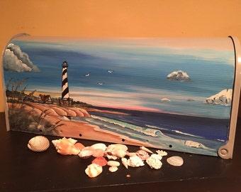 Hand Painted Beach , Lighthouse mailbox,Nautical Home Decor,Gift