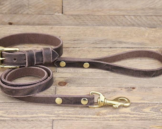Dog collar, dog leash, set, FREE ID TAG, Dog collar and leash, Cherry brown, Brass hardware, Dog lead, Leather collar, Handmade collars.