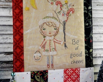 Good cheer Christmas embroidery pattern PDF - quilt design girl snowman tree primitive folk art