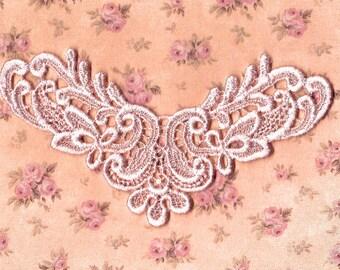 Hand Dyed Edwardian Scroll Venise Lace Applique Vintage Blush Pink