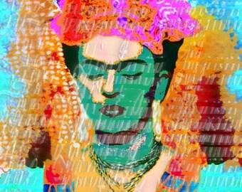 Frida Kahlo Stencil Fabric BLock Pop Art Mixed Media Tote Bags Pillows Home Accents FK182