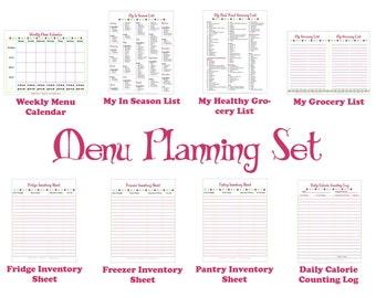 Printable Menu Planner - Kitchen Set for Meal Planning