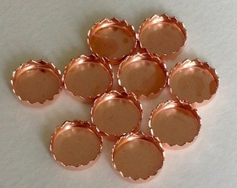 Bezel Cups 6 mm Copper Round Serrated Settings - Quantity 10 - Jewelry or Craft Supply