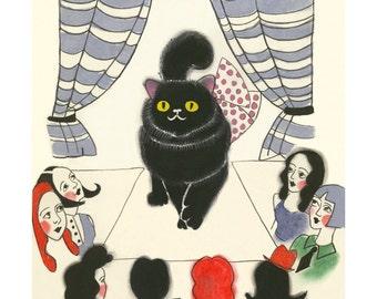 "Black cat artwork cat art print -  CATwalk  - 8.3"" X 11.8""  PRINT - 4 for 3 SALE"