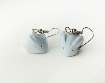 Pastel Blue Candy Bunny Earrings - Polymer Clay Spring Easter Jewelry