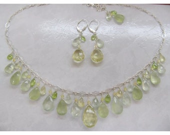 68.10 CTW Genuine Natural Lemon Quartz with Prehnite & peridot faceted briolettes tear drop beads Sterling silver necklace and earrings set