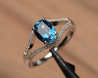 London blue topaz ring wedding engagement ring sterling silver oval cut blue gemstone ring  November birthstone ring