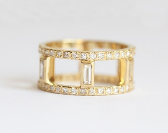 Diamond Wedding Ring, Diamond Wedding Band, Wide Diamond Band, Baguette Eternity Band, Baguette Diamond Ring, Baguette Wedding Ring, 18k
