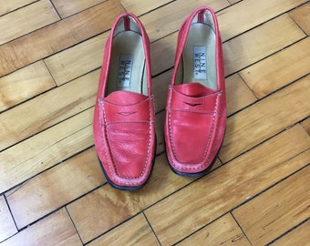 Vintage 90s red leather oxford loafers size 7.5 M by Nine West