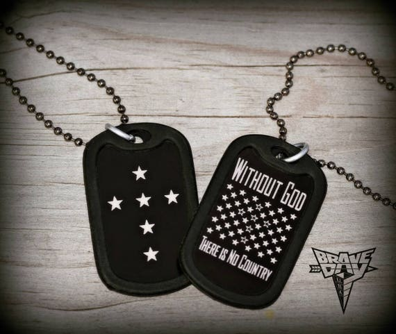Exclusive Dave Bray USA Double side dog tag necklace.