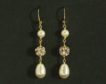Pearl Bridal Earrings, Gold Bridal Earrings, Pearl Drop Earrings, Long Pearl Earrings, Gold Pearl Bridal Jewelry -- PORTIA