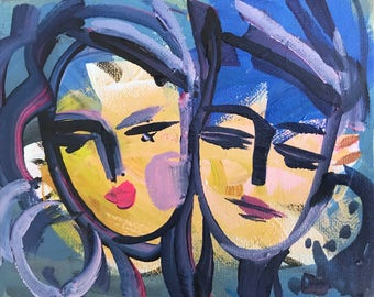 "Warrior Girl Print woman art impressionist modern abstract girl paper or canvas ""Sisters Study"""