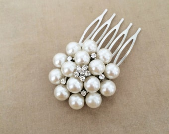 Bridal Pearl Comb, Pearl comb, Bridal Pearl Hair Comb, silver crystal bridal hair accessories wedding crystal rhinestone ROUND MED
