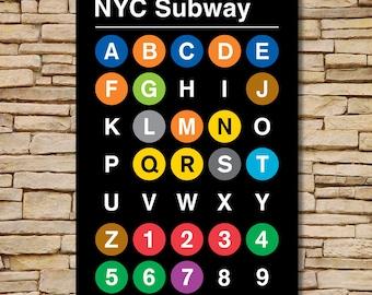 "24 x 36"", 13 color Silk Screen, Alpha-Numeric NYC Subway Print by Jody Williams"