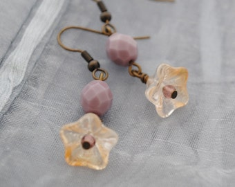 Flower earrings - Jonquil & purple, brass, bead, lustre, pale yellow
