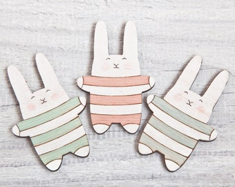 Fridge Magnets, Pastel Wooden Magnets, Bunny Baby Shower Gift, Funny Baby Gift, Striped Refrigerator Magnet, Mint Pink Blue Set of 3