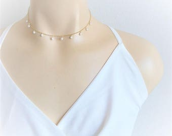 Pearl Necklace, Freshwater Pearl Necklace, Pearl Choker, Wedding Necklace, Bridesmaids necklace, Bridal Necklace, Dainty Pearl Necklace