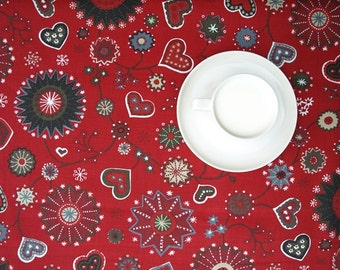 Christmas Tablecloth red grey Christmas Flower and Hearts decor , napkins , table runner , curtains , pillows available, great GIFT