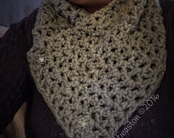 Gorgeous Grey & Crystal Crocheted Neckwarmer/Scarf