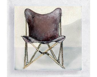 Stuhl Kunst - das Original Klappstuhl - Tripolina Stuhl Portrait Leinwanddruck auf 5 x 5 Art Block - Retro-Wand-Dekor - Schmetterling Klappstuhl