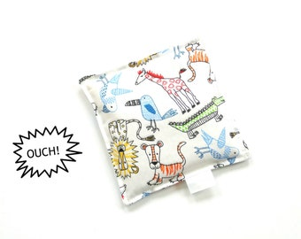 Boo boo bag, freezer pouch, toddler first aid cold compress, rice bag, animals fabric print, ouch pouch