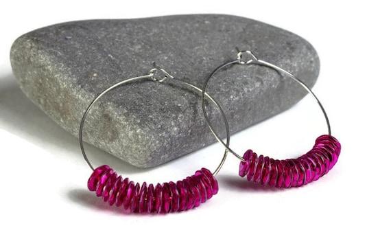 Hot pink sequins hoop earrings (642)