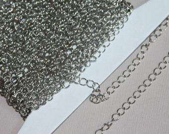 10 ft Antiqued silver fini 3.8X4.5mm chaîne GOURMETTE