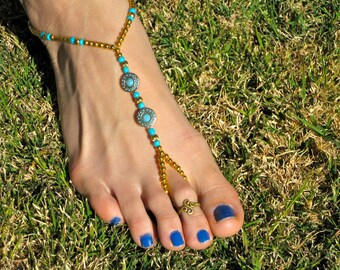 Gold Metal and Turquoise Barefoot Sandals, Slave Anklet, foot thong, ankle bracelet with toe ring