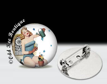 """Gardening Pinup Girl Pin - Rockabilly Pin Up Brooch - Garden, Nature Button - Floral, Flowers, Retro Accessory Gift- 1"""" Silver and Glass Pin"""