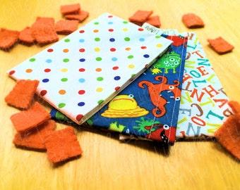 Reusable Snack Bags - Set of 3 - Monsters, Alphabet, Polka Dots - ECOfriendly & Food Safe - Dishwasher Safe - Back to School