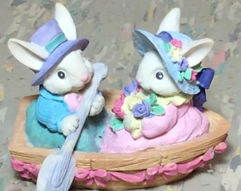 Vintage Resin Easter Bunny Couple in Boat Michael's 1990's