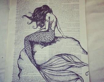 Book page ink illustration~Mermaid