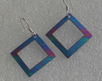 "Open Square Niobium Earrings 1"""