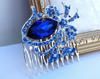 Blue rhinestone brooch bridal hair comb, wedding head piece  - Sally