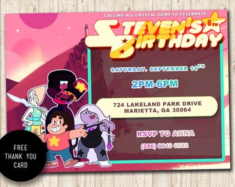 Steven Universe Invitation, Steven Universe Party Invitation, Steven Universe Birthday Party, Digital, Steven Universe