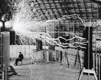 Nicola Tesla, lightning bolts, experiment, 1899,  Black and white, old, vintage antique, photography, picture, print, fine art