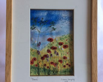Picture entitled 'Peace'. Handpainted, embroidered and beaded poppies, flowers and grasses.