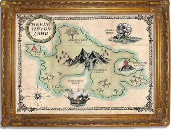 Peter Pan - Never Never Land Map - Vintage Poster - Disney Inspired -  Available in Multiple Sizes 5x7 up to 24x36