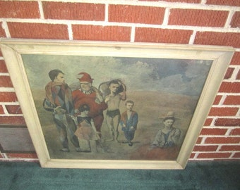 """Vintage c1950 Pablo Picasso Large Framed Lithograph """"Family of Saltimbanques"""""""